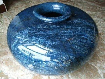 *藏雅軒*天然礦石藍寶礦銅礦花東七彩玉石系列-大型聚寶盆花瓶-海闊天空-