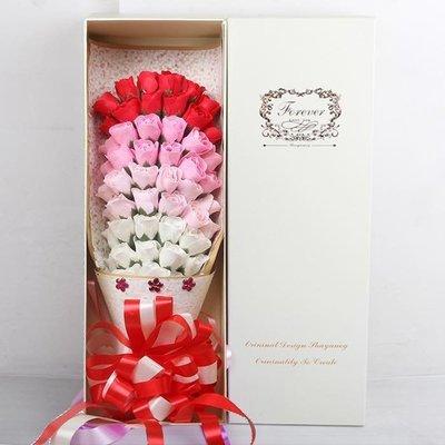 51朵香皂花束禮盒,不凋謝的玫瑰花-紅色漸層玫瑰款