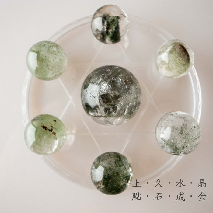 『上久水晶』_天然綠幽靈水晶七星陣___市面少見___主正財__增強正財運及聚財__總重133.5g