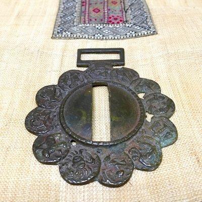 印度百年古董 十二星座盤 掛飾 擺件 手工純銅敲製 老件