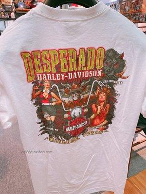 潮牌20423魔域機車美國哈雷男士復古美女短袖T恤進口