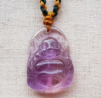 ☆采鑫天然寶石☆**財神到**~~頂級紫水晶墜~彌勒佛~淨˙亮˙透~