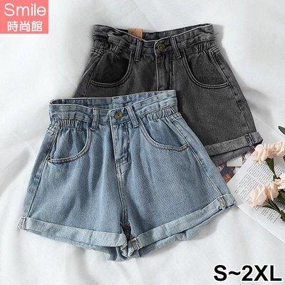 【V3095】SMILE-休閒牛仔.高腰卷邊闊腿牛仔短褲