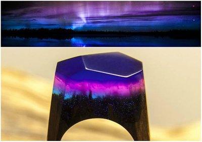 【造物·定制】廠家戒指直銷 創意紫光藍木戒指