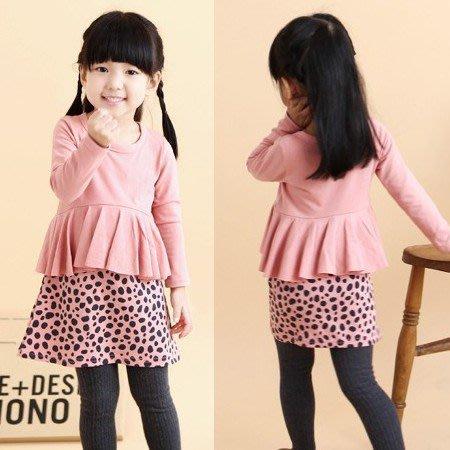 韓版《粉色豹紋裙》甜美長袖洋裝 (J3-4)