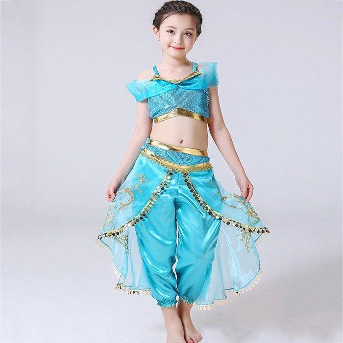 【小阿霏】女童阿拉丁茉莉公主裝 女孩迪士尼人物Jasmine套裝 最佳兒童萬聖節cosplay主題派對裝扮CL255