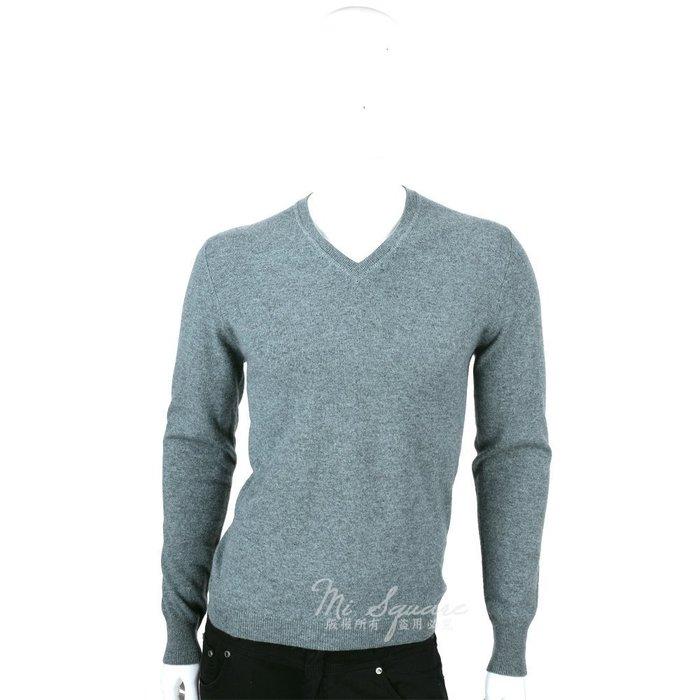 米蘭廣場 ALLUDE 100% CASHMERE 肘拼接設計V領毛衣(灰綠色) 1440552-18