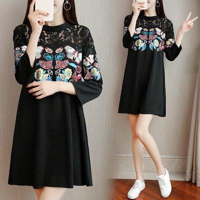 GOGO SHOP☆╭韓版新款 時尚蕾絲拼接印花連身裙 後拉鏈設計洋裝【Y1570】M~5XL大碼水水女裝中長款T恤