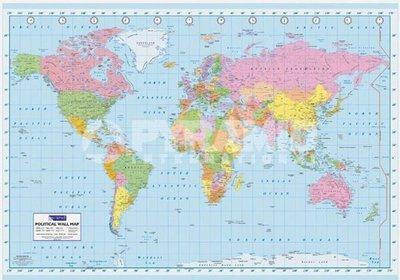 海報拼圖專賣店:海報 GPW6001 (大型海報--世界地圖 -100*140cm-清晰版)+掛軸處理