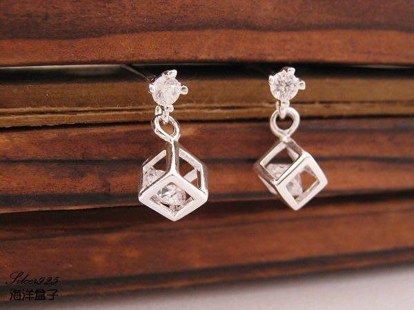 ☆§海洋盒子§☆精緻小巧立體方塊鋯石耳環OB11062(A)《925純銀耳環》 銀飾