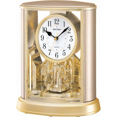 RHYTHM CLOCK 日本麗聲施華洛世奇旋轉水晶香檳金座鐘 型號:4SG724WR18【神梭鐘錶】