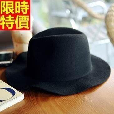 爵士帽 小禮帽-圓頂黑色復古時尚休閒羊毛呢男帽子2色67e23[獨家進口][米蘭精品]