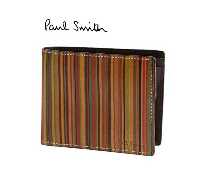 Paul Smith► (復古條紋色) 真皮兩摺短夾 錢包 皮夾 中性款|100%全新正品|特價!