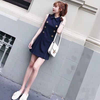 ❤Princess x Shop❤復古chic清新連衣裙DL9061617正韓國連線吊帶褲蕾絲一字領