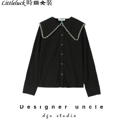 Littleluck~女裝很仙的上衣心機襯衫設計感超仙女顯瘦甜美洋氣香港襯衫女復古冷淡