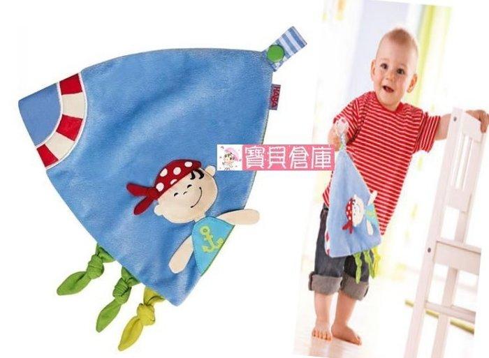 寶貝倉庫~嬰幼兒海盜安撫巾~寶寶口水巾~奶嘴扣設計~帶響紙~超柔~抓握布玩具~初生寶寶必備
