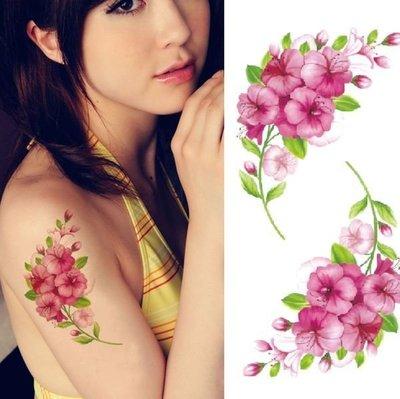 【萌古屋】紫紅花朵胸背手臂大圖 - 男女防水紋身貼紙刺青貼紙K00