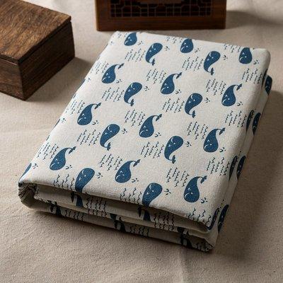 戀物星球 日韓棉麻布料卡通大鯨魚手工diy布料抱枕桌布沙發布門簾面料新品