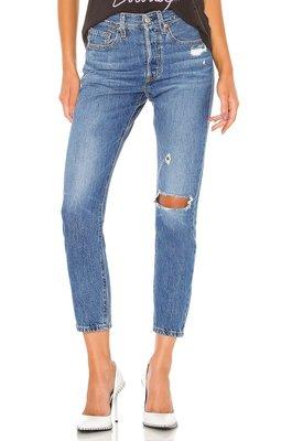 ◎美國代買◎Levi's 501 skinny 仿舊藍刷色單膝褲管刷破復古高腰刷破八分牛仔褲