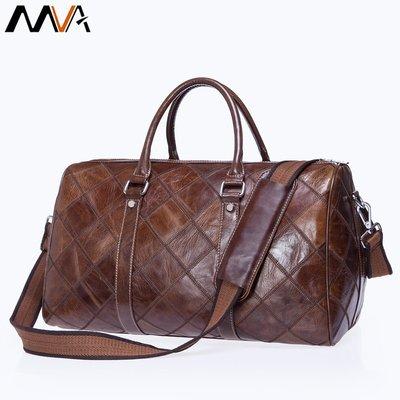 秋冬爆款手提旅行袋復古頭層牛皮大容量旅行包休閑格紋行李袋