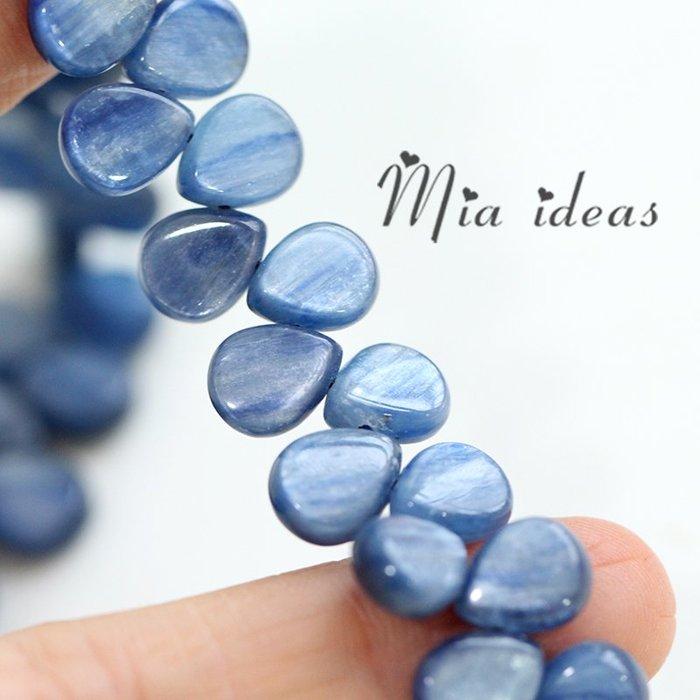 衣萊時尚-米婭 天然石梨形藍晶 DIY手工繞線首飾配件半成品