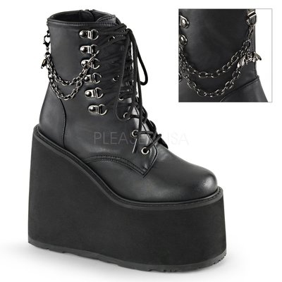 Shoes InStyle《五吋》美國品牌 DEMONIA 原廠正品龐克歌德蘿莉鍊條厚底楔型短馬靴 有大尺碼 『黑色』