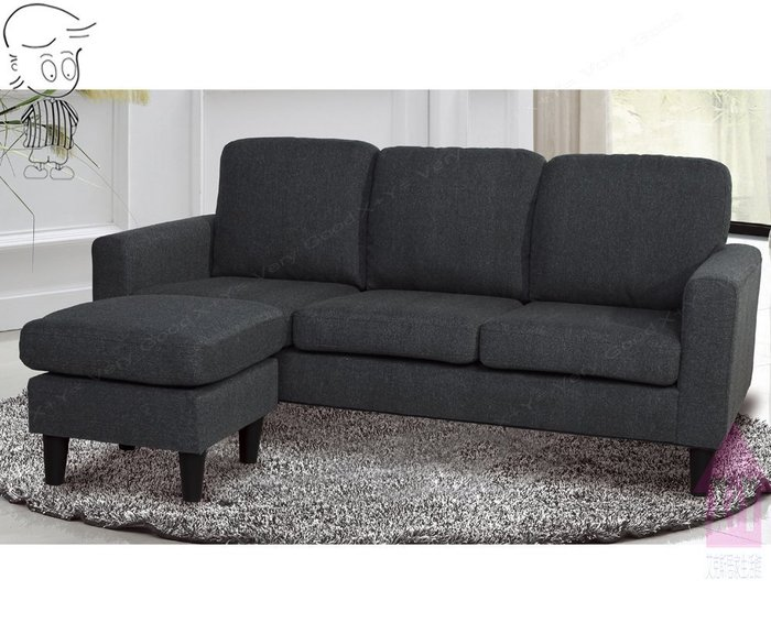 【X+Y時尚精品傢俱】現代沙發系列-奧斯卡 鐵灰色L型布沙發(3人+腳椅).亞麻布料.摩登家具