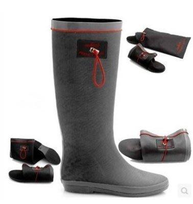 【易發生活館】新可折疊款透氣膠鞋灰色輕便雨靴防滑耐磨雨鞋男女時尚水鞋