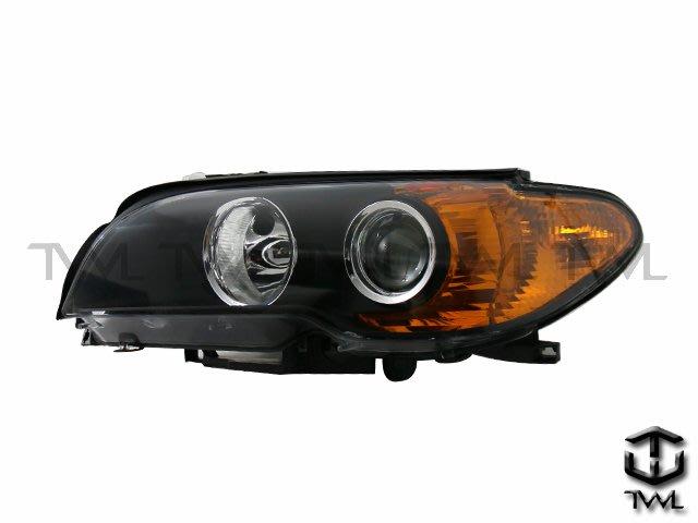《※台灣之光※》全新寶馬 E46  2D 2門03 04 05 06年HID黑底魚眼投射大燈頭燈黃色反光