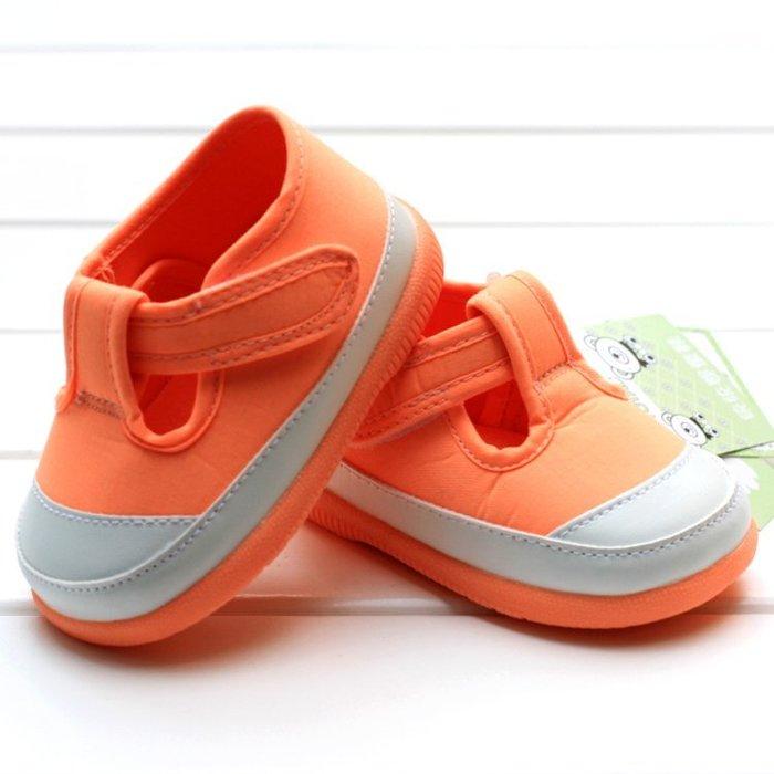 寶貝倉庫~膠底~橘色時尚休閒鞋~學步鞋~寶寶鞋~幼兒鞋~學走鞋~幼兒鞋~童鞋~彌月送禮~粘扣設計~適合戶外行走