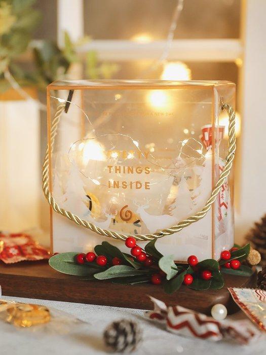 聖誕透明PET包裝盒 曲奇餅干禮品盒子INS風雪花酥牛軋餅袋手提盒 裝飾 品 擺件 聖誕節裝飾  新年裝飾