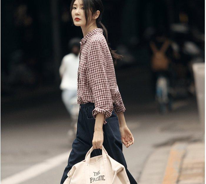 ||一品著衣|| 寫意小格子襯衫女款秋新營造好氣色質樸色織亞麻格子上衣