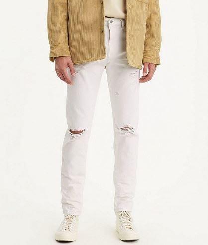 【彈性錐型窄版28-42腰】美國LEVIS 512 Slim Taper 白色 膝蓋 刀割 破壞加工小直筒牛仔褲510
