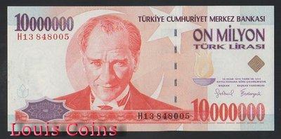 【Louis Coins】B654-TURKEY --1999土耳其紙幣10.000.000 Tk Lirası