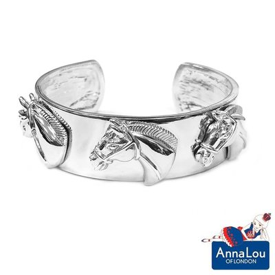 Anna Lou OF LONDON 台北ShopSmart直營店 倫敦品牌 皇室駿馬手環 銀色寬版