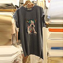 bibi 韓國連線 正韓 【 BV3254 】 圓領亮片圖 印短袖連身裙