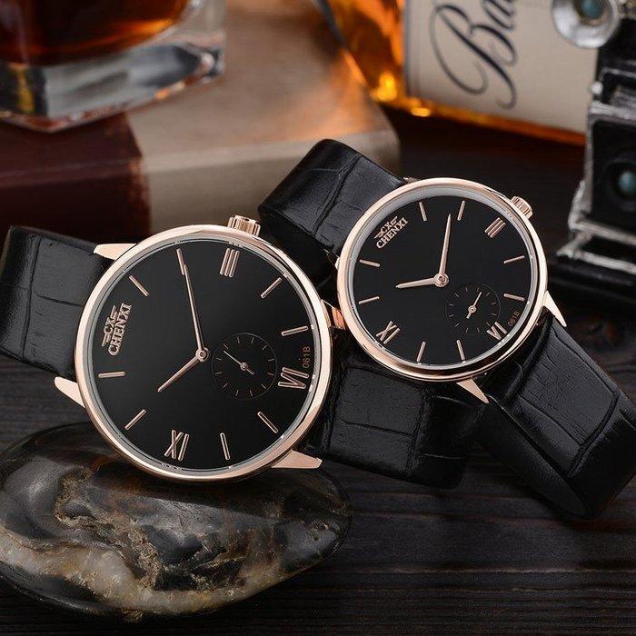 男女韓版超薄時尚潮流情侶錶皮帶學生復古簡約石英錶p63
