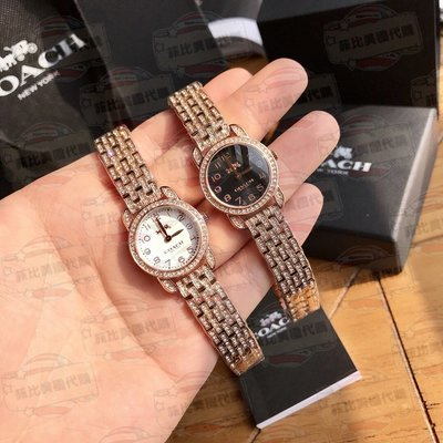 【菲比代購&歐美精品代購專家】COACH 蔻馳 經典馬車LOGO 滿鑽 玫瑰金錶帶 女款 時尚氣質 精品手錶 兩色