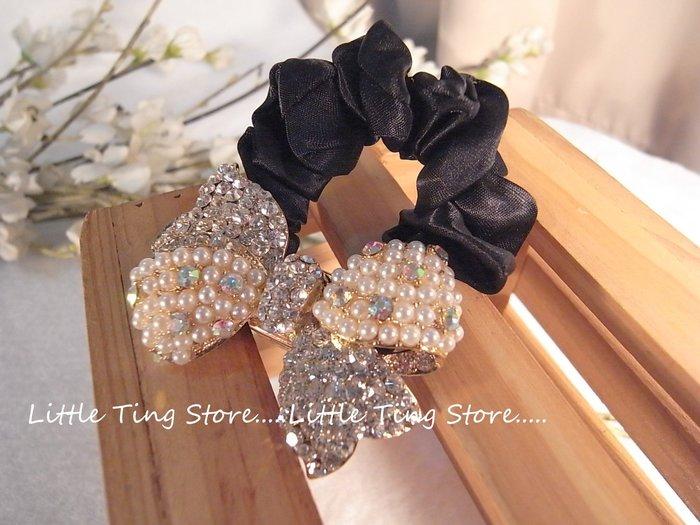Little Ting Store:韓國進口 珍珠水鑽雙蝴蝶結布鬆緊大腸髮束甜甜圈髮圈髮帶可當手環.