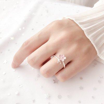 耳釘 項鏈 時尚 迷你版 簡約 925純銀浪漫手工滴釉粉鉆桃花戒指小清新開口戒禮物女
