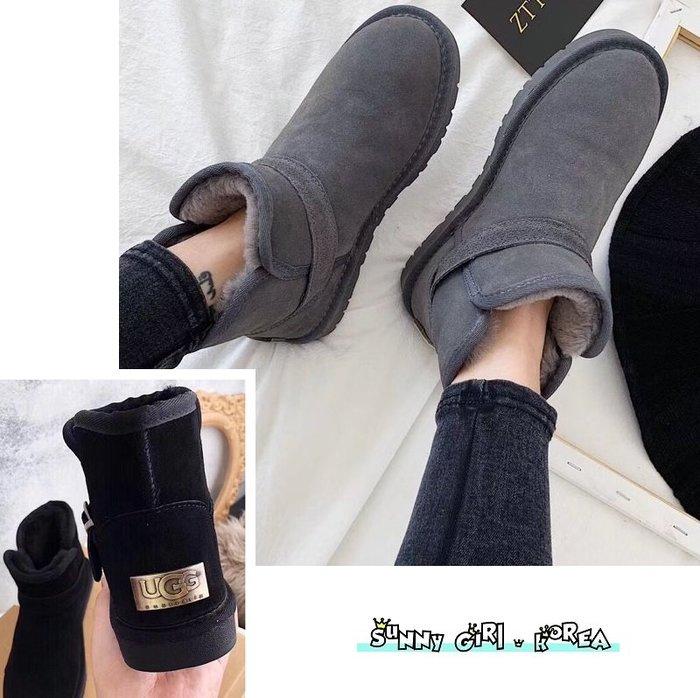 雪靴*Sunny Girl*澳洲UGG同廠真皮5855銅標款側搭扣羊毛短筒靴 2020一月新款 - [WH1445]