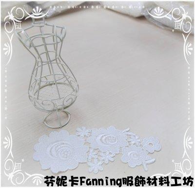 【芬妮卡Fanning服飾材料工坊】Rose玫瑰花片 棉布蕾絲 刺繡花邊 DIY手工材料 1片入