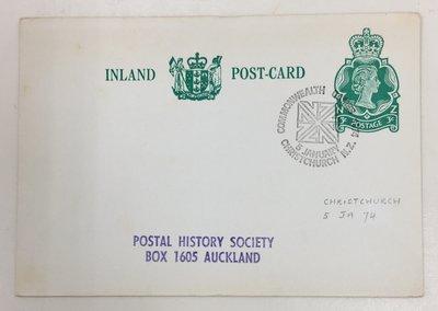 【郵卡庫】【運動】紐西蘭1974年大英國協運動會,伊莉莎白女王3分郵資紀念片,背黃  PC0093