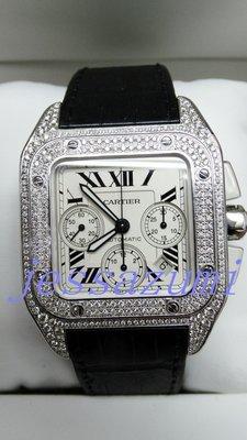 USED90%NEW -Cartier  Santos 100 原廠保證書 原廠錶盒