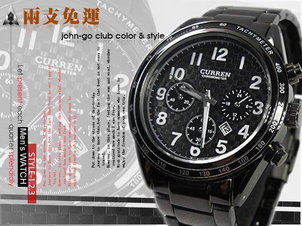 CURREN時尚黑鋼槍賽車錶款 仿三眼設計 日期視窗 男錶 ☆匠子工坊☆【UK0083】