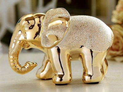 《宇煌》時尚新款熱賣鍍金高貴宮廷大象電鍍陶瓷創意擺件/鍍金吉祥象擺設_一對