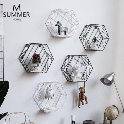 墻上收納 手工擺件 風鈴 掛鐘 裝飾擺件現代簡約北歐風墻上創意組合壁掛飾客廳臥室書架六邊形幾何置物架