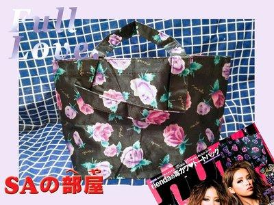 ◎SA部屋◎日本Happie nuts雜誌的 rienda托特包-防水-黑色玫瑰托特包-特價39元