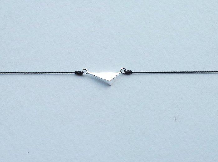 [Le Bonheur Line] 幸福線 手工/925純銀 不規則 三角形 /黑線 幾何 手繩 飾品 極簡 聖誕 銀飾