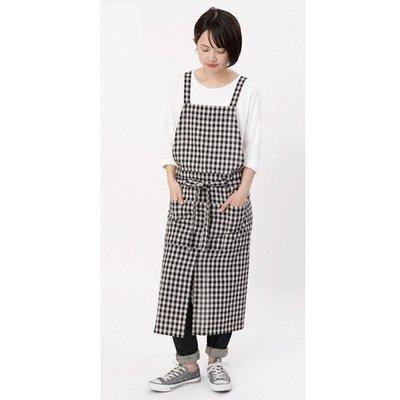 發現花園 日本選物~日本製  COCOWALK    雙口袋 格紋  棉麻圍裙  ~黑白格/藍白格 (200501)